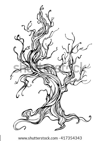 artistically drawn old tree