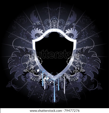 Stock Photo artistically painted, black shield, decorated with silver and floral ornament on black background