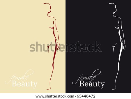 stock vector : Artistically reduced illustration of a female nude
