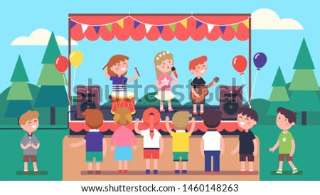 Artists children music band singing song, playing instruments on outdoor stage. Festival show concert in park. Audience crowd enjoying performance & listening to music. Flat vector illustration