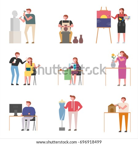 Artists in the field of art design vector illustration flat design