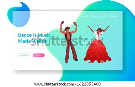 Artists on Traditional Folk Festival Performance Event Website Landing Page. Brazilian Girl Dancer Performing Samba at Rio Carnival with Maracas Player Web Banner. Cartoon Flat Vector Illustration
