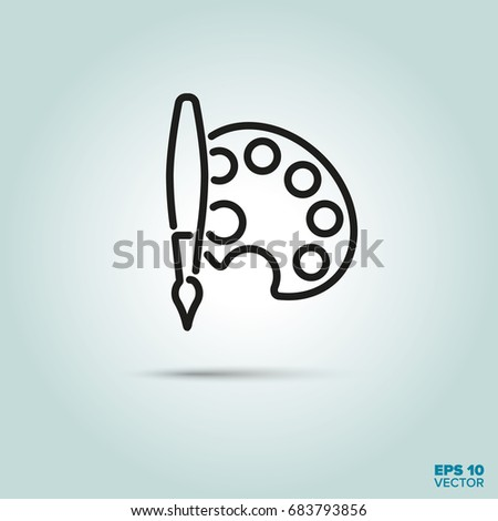 Artists palette and paintbrush Line Icon Vector