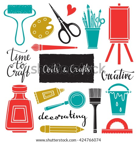 Arts and crafts hand drawn supplies, tools, design elements, icons set isolated on white background