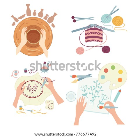 Arts and crafts. Hobby activities. Hands doing various workshops including pottery, needlework or sewing, fancywork and painting. Images of four different hobbies isolated on white background