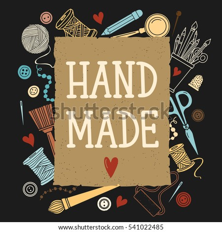Arts and crafts sewing hand drawn supplies, tools, design elements, icons set isolated on black background