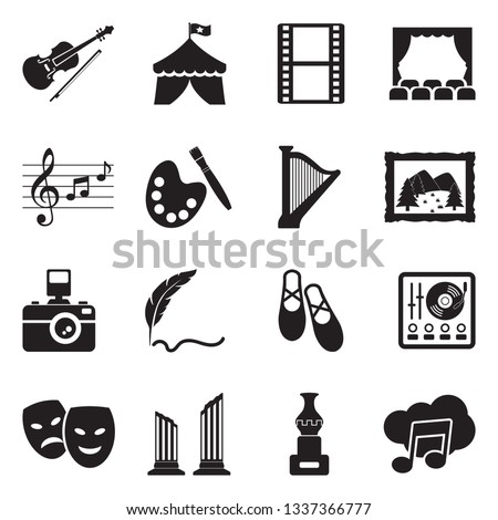 Arts And Entertainment Icons. Black Flat Design. Vector Illustration.