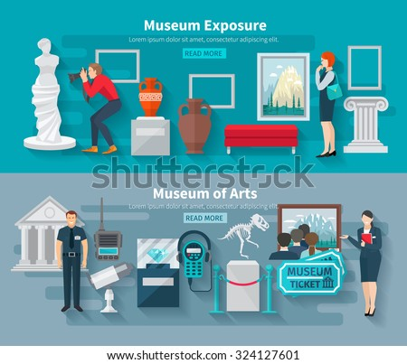 Arts and paleontology museum horizontal banner set isolated vector illustration