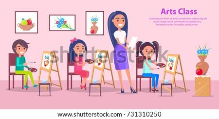 arts class poster with teacher