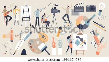Arts set as professional creative entertainment theme items tiny person concept. Isolated elements with painting, cinematography, photography, music and literature fields symbols vector illustration.