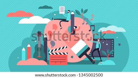 Arts vector illustration. Flat tiny music, literature and painting persons concept. Creative artist process collection set. Creator of visual culture, interactive media and sound representation skill.