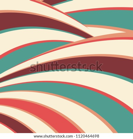 artsy groovy vector background with curving stripes in fun abstract design in blue green red orange peach beige white and burgundy brown colors