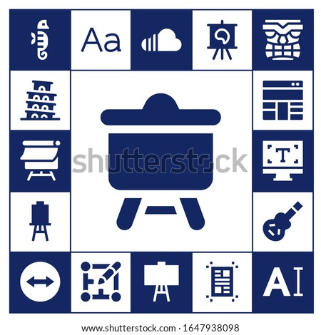 artwork icon set. 17 filled artwork icons.  Simple modern icons such as: Seahorse, Pisa, Canvas, Layout, Typography, Electric guitar, Team viewer, Soundcloud, Tiki