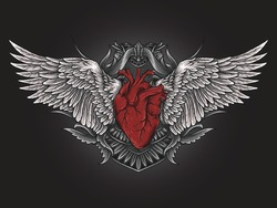 artwork illustration and t-shirt design heart with angel wing engraving ornament
