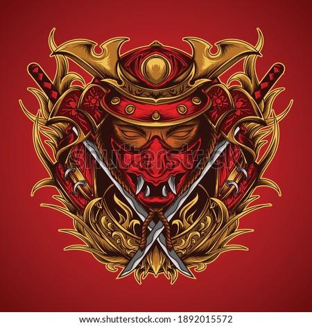 artwork  illustration and t-shirt design samurai head with katana premium vector