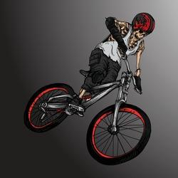 artwork illustration and t-shirt design skeleton bike b.m.x rider premium vector