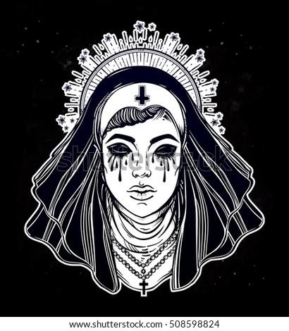 artwork of a creepy catholic
