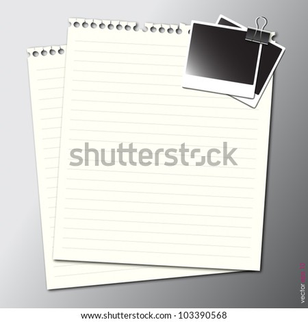 artwork of blank paper note on gray background.