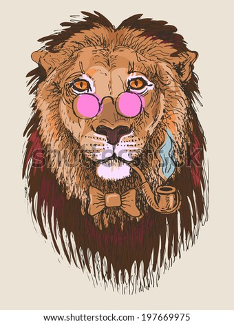 Hipster lion drawing - photo#6