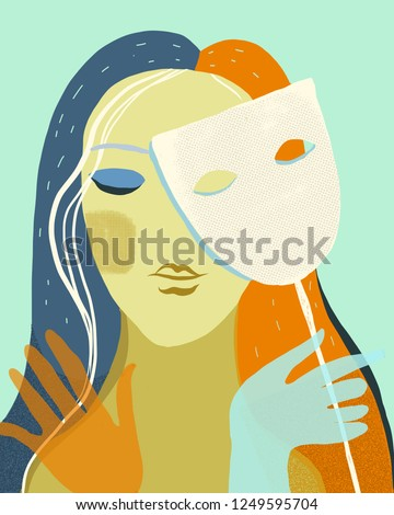 Artwork of woman holding a mask, hiding real feelingor face behind mask hypocrisy, fake, liar, conceal, or insincere. Illustration with abstract details.