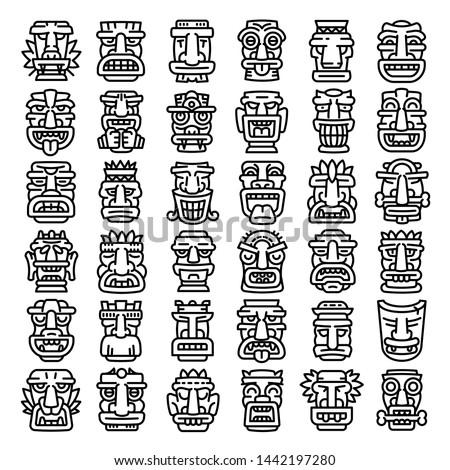 Artwork polynesian tiki idols icons set. Outline set of artwork polynesian tiki idols vector icons for web design isolated on white background