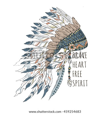 artwork with war bonnet and