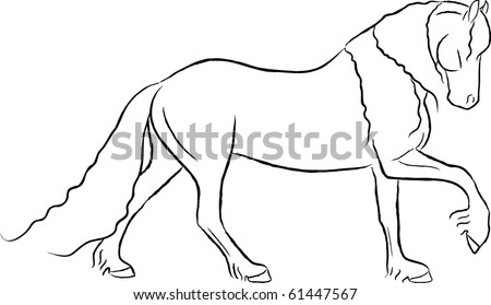 Arty Friesian Horse Vector