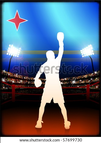 Aruba Flag with Boxer on Stadium Background Original Illustration