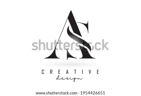 AS a s letter design logo logotype concept with serif font and elegant style. Vector illustration icon with letters A and S. Foto stock ©
