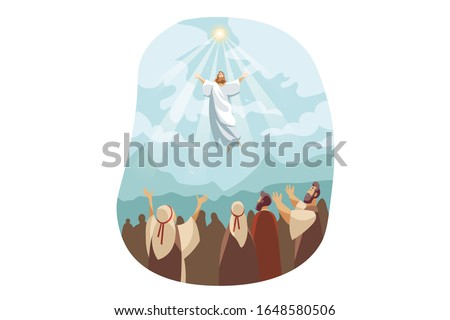 Ascension of Jesus Christ, Bible concept. Illustration of resurrection Jesus Christ. Sacrifice of Messiah for humanity redemption. Miraculous ascension of son of god in cartoon style. Vector flat