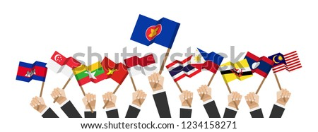 ASEAN and membership flags . Businessman hand hold and raise up flagpole . White isolated background . Flat design . Vector . #1234158271