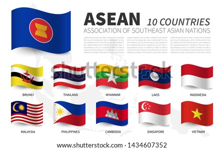 ASEAN . Association of Southeast Asian Nations and membership . Waving flags design . Southeast asia map background . Vector .