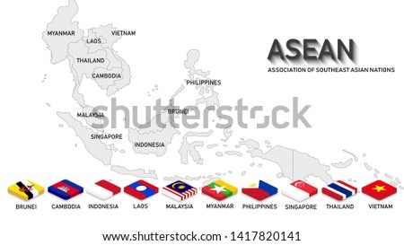 ASEAN ( Association of Southeast Asian Nations). Map and nation flags of all members in 3 D rectangle style with shadow. Light grey background. Artwork for ASEAN and Southeast Asia countries.