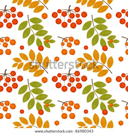 Ash berry seamless pattern. Vector illustration