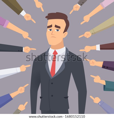 Ashamed. Problem man pointing to businessman ashamed guilty conflict foolish people fear employee vector concept