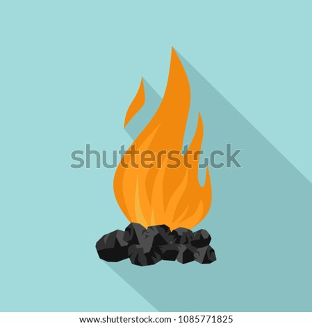 Ashes charcoal flames icon. Flat illustration of ashes charcoal flames vector icon for web design