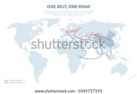 Asia and Europe international transit way. Chinese transport new silk road. Export and import path globe map vector illustration. Map road transit pathway asia and europe