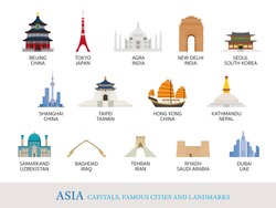 Asia Cities Landmarks in Flat Style, Capitals, Famous Place, Buildings, Travel and Tourist Attraction