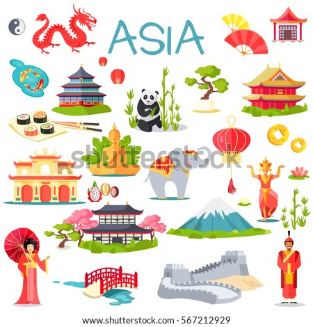 asia collection of symbolic