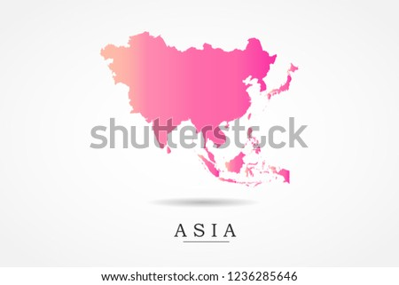 Asia Continental Map- World Map International vector template with Pink gradient color isolated on white background - Vector illustration eps 10
