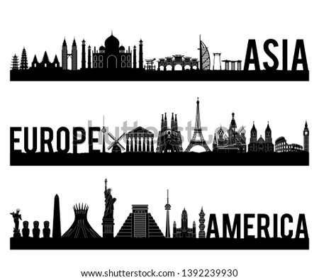 Asia Europe and America continent famous landmark silhouette style with black and white classic color design include by country name,vector illustration