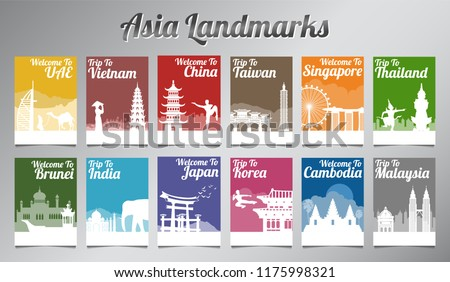 Asia famous landmark in silhouette design with multi color style brochure set,vector illustration