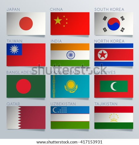 asia flag ribbon set   vector