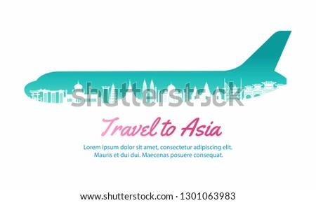 Asia landmark inside with plane shape,concept art  silhouette style,vector illustration,pink gradient,vector illustration