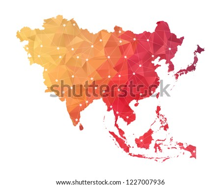 Asia Map - Abstract geometric rumpled triangular low poly style gradient graphic on white background , line dots polygonal design for your . Vector illustration eps 10.