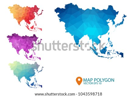 Asia Map - Set of geometric rumpled triangular low poly style gradient graphic background , Map world polygonal design for your . Vector illustration eps 10.