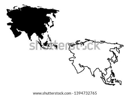 Asia map vector and Asia map outline vector
