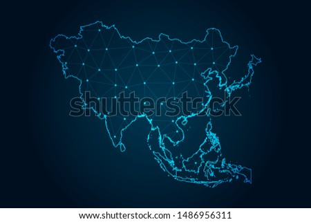 asia map with Abstract mash line and point scales on Dark background . design polygon sphere .  Wire frame 3D mesh polygonal network line . Vector illustration eps 10.