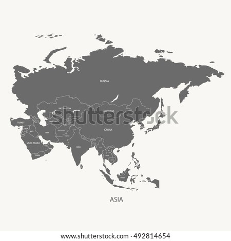 ASIA MAP WITH THE NAME OF THE COUNTRIES grey color illustration vector