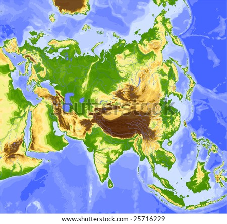Asia. Physical vector map, colored according to elevation. Surrounding territory greyed out. 28 named layers, fully editable. Data source: NASA